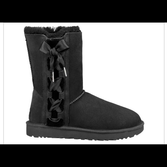 **SALE Ugg women's pala black satin lace up boots